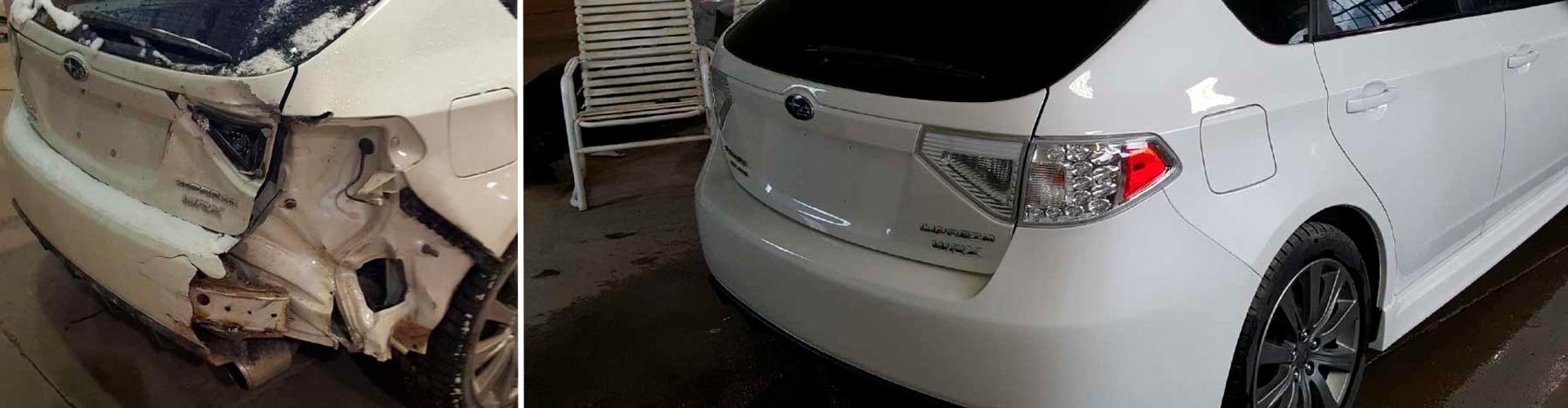 Автомобиль до и после ремонта кузова